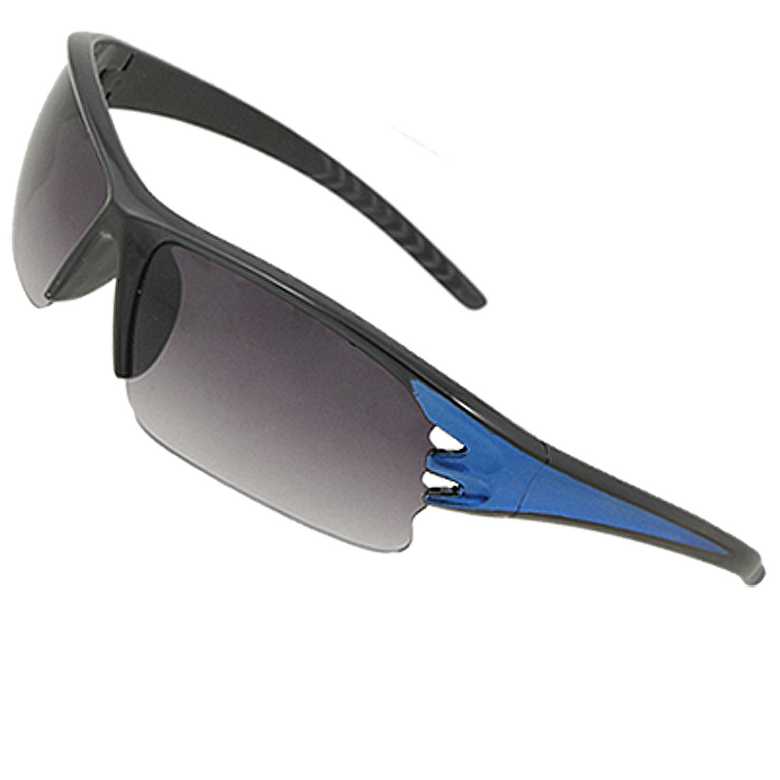 Blue Black Cut Out Half-frame Sports Sunglasses for Unisex