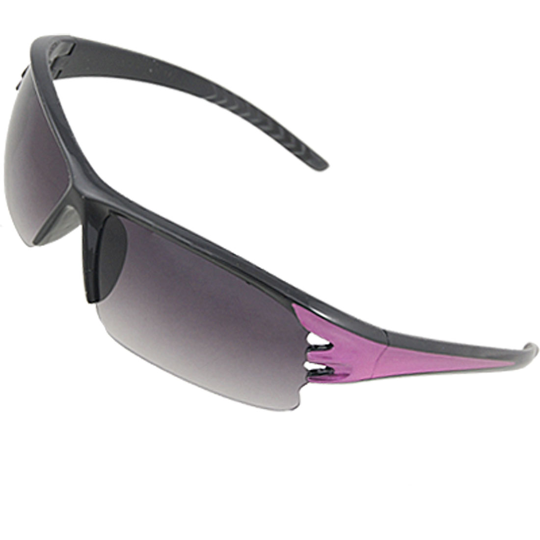 Unisex Fuchsia Black Plastic Half Frame Cut Out Sunglasses