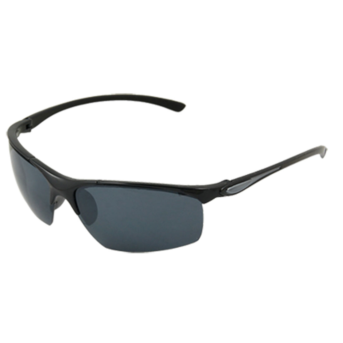 Unisex Black Half Rim Eyewear Rectangle Lens Sunglasses