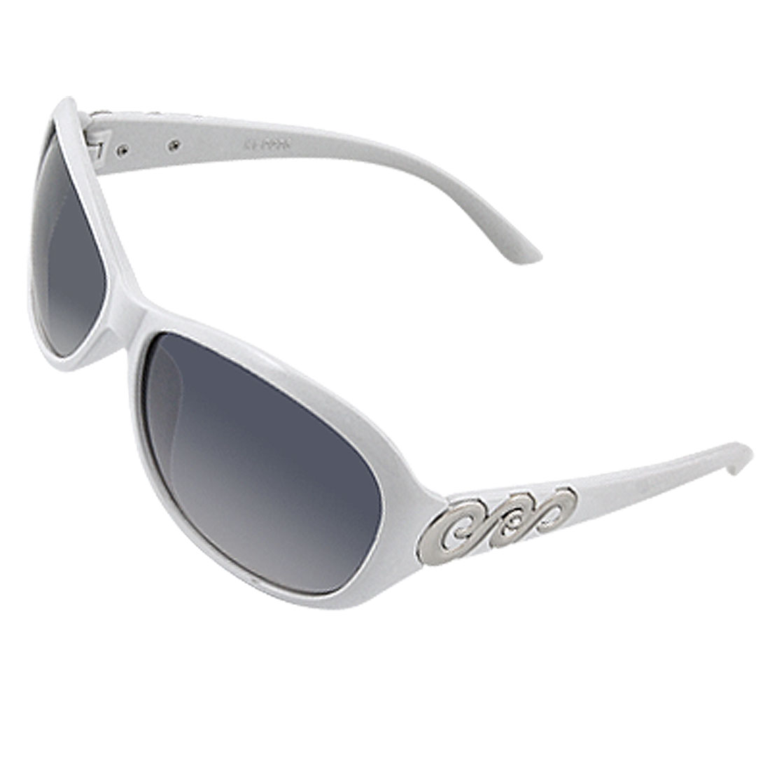 Silver Tone Wave Pattern White Plastic Sunglasses for Lady