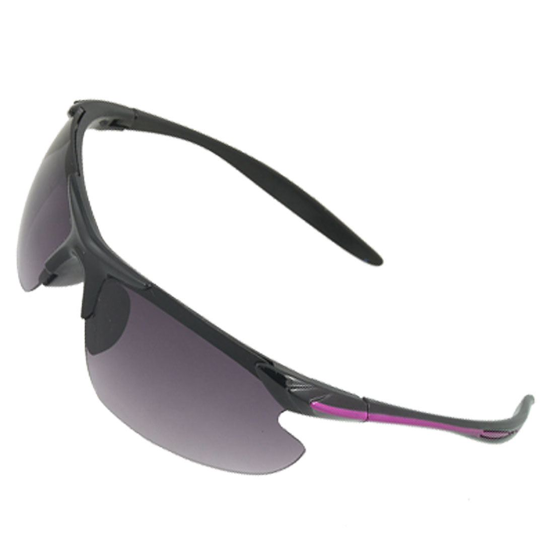 Purple Line Black Arms Plastic Half Rim Smoke Lens Sports Sunglasses
