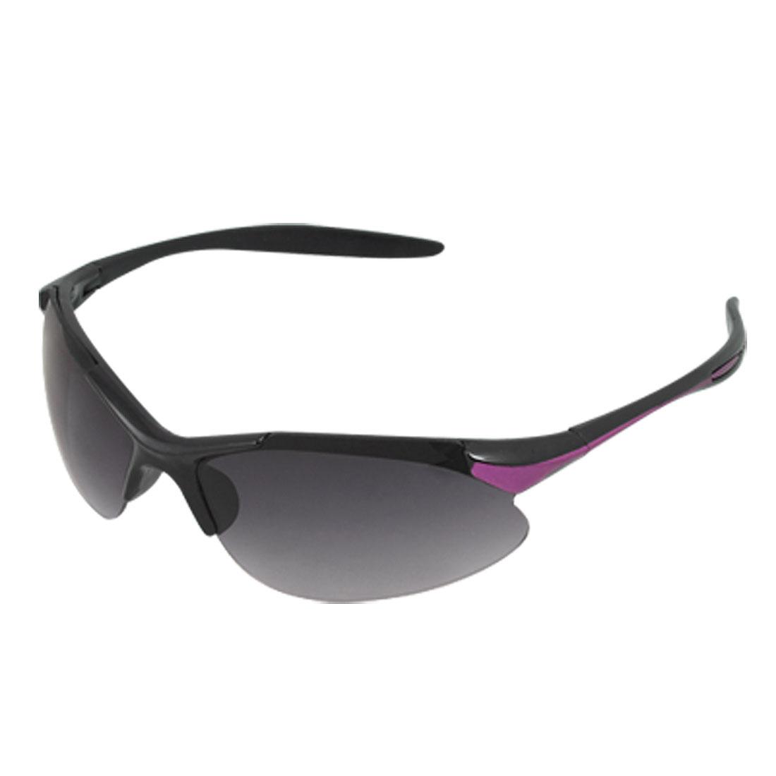 Unisex Purple Accent Black Plastic Arms Smoke Lens Sports Sunglasses
