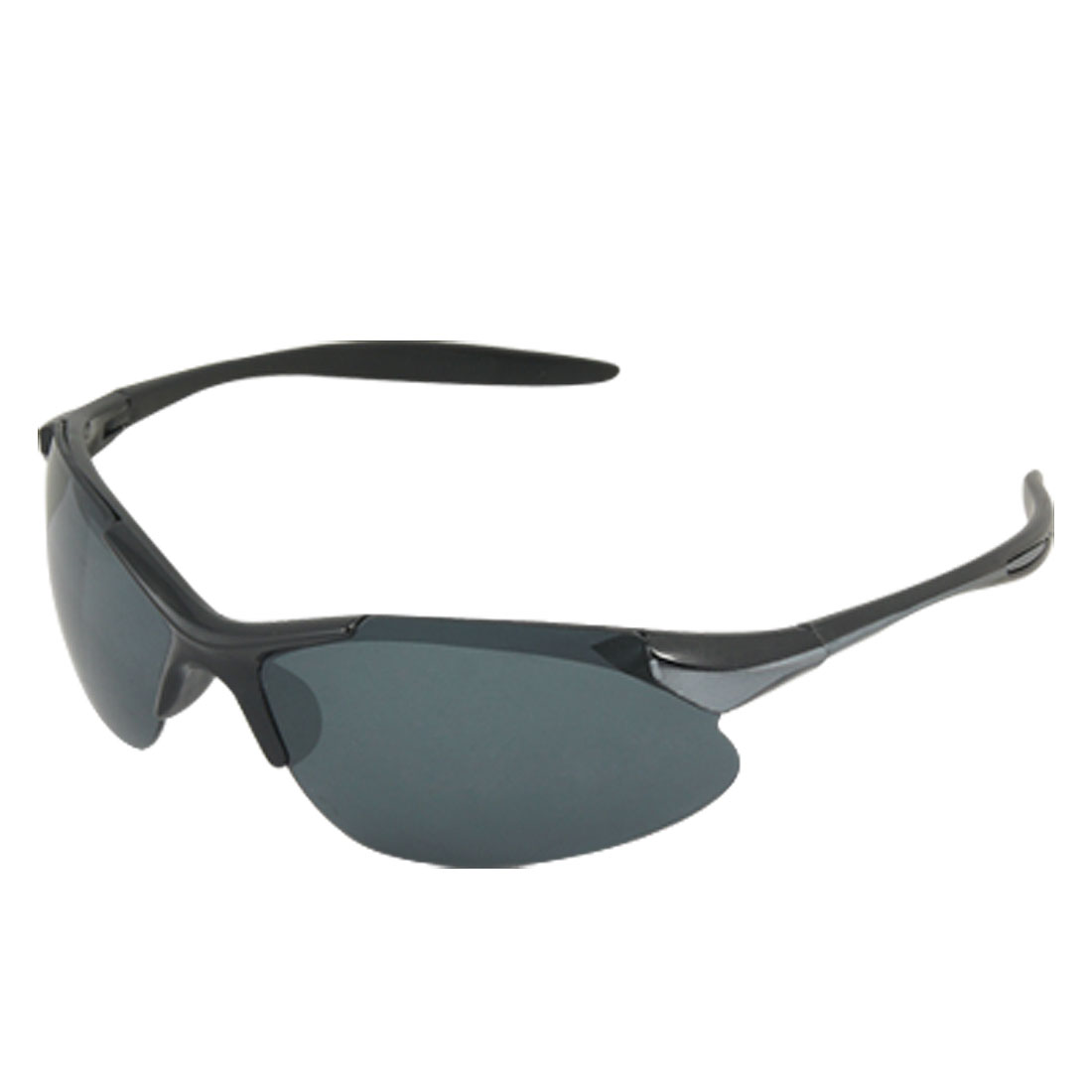 Two Tone Plastic Arms Dark Blue Lens Sports Sunglasses Unisex
