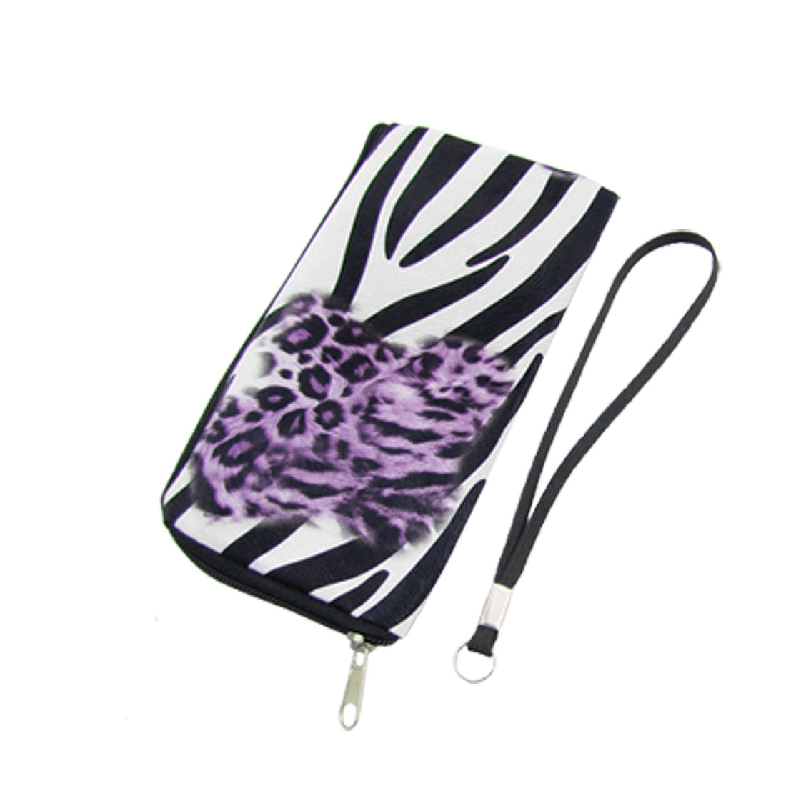 Purple Leopard Pattern Zebra-stripe Faux Leather Cell Phone Pouch