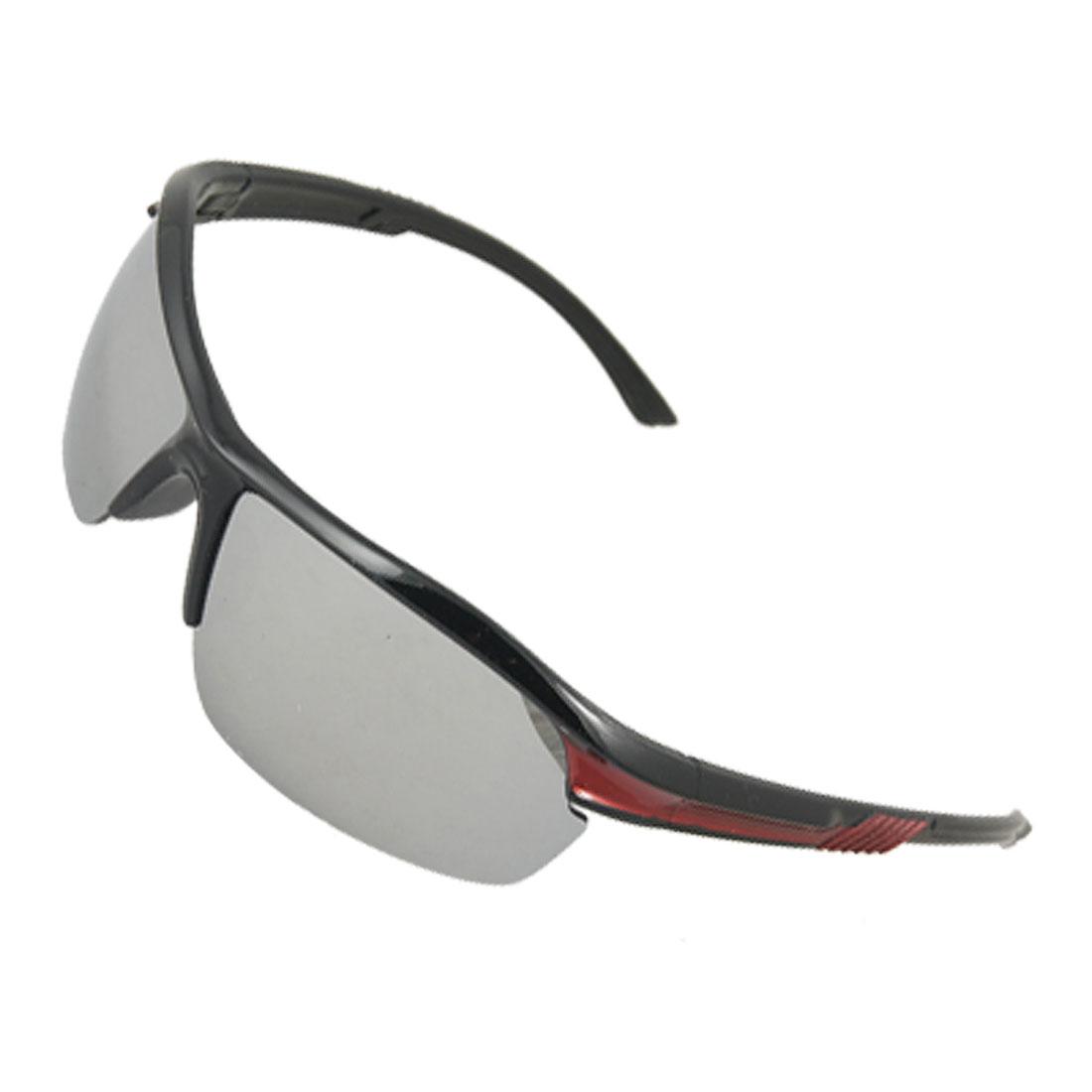 Unisex Mirror Lens Design Black Red Plastic Arms Sports Sunglasses