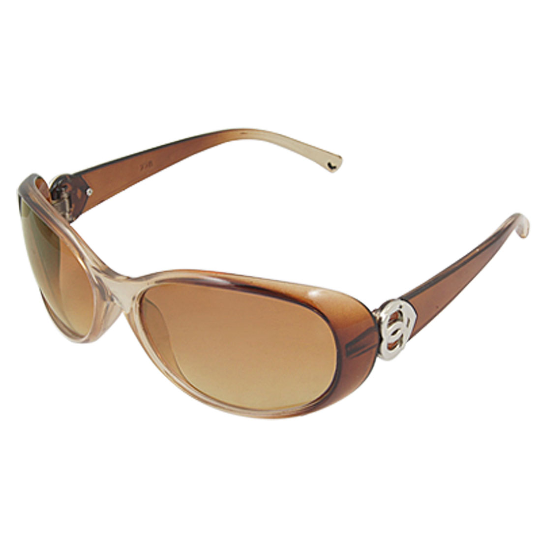 Full Rim Ellipse Lens Plastic Sunglasses Brown for Lady