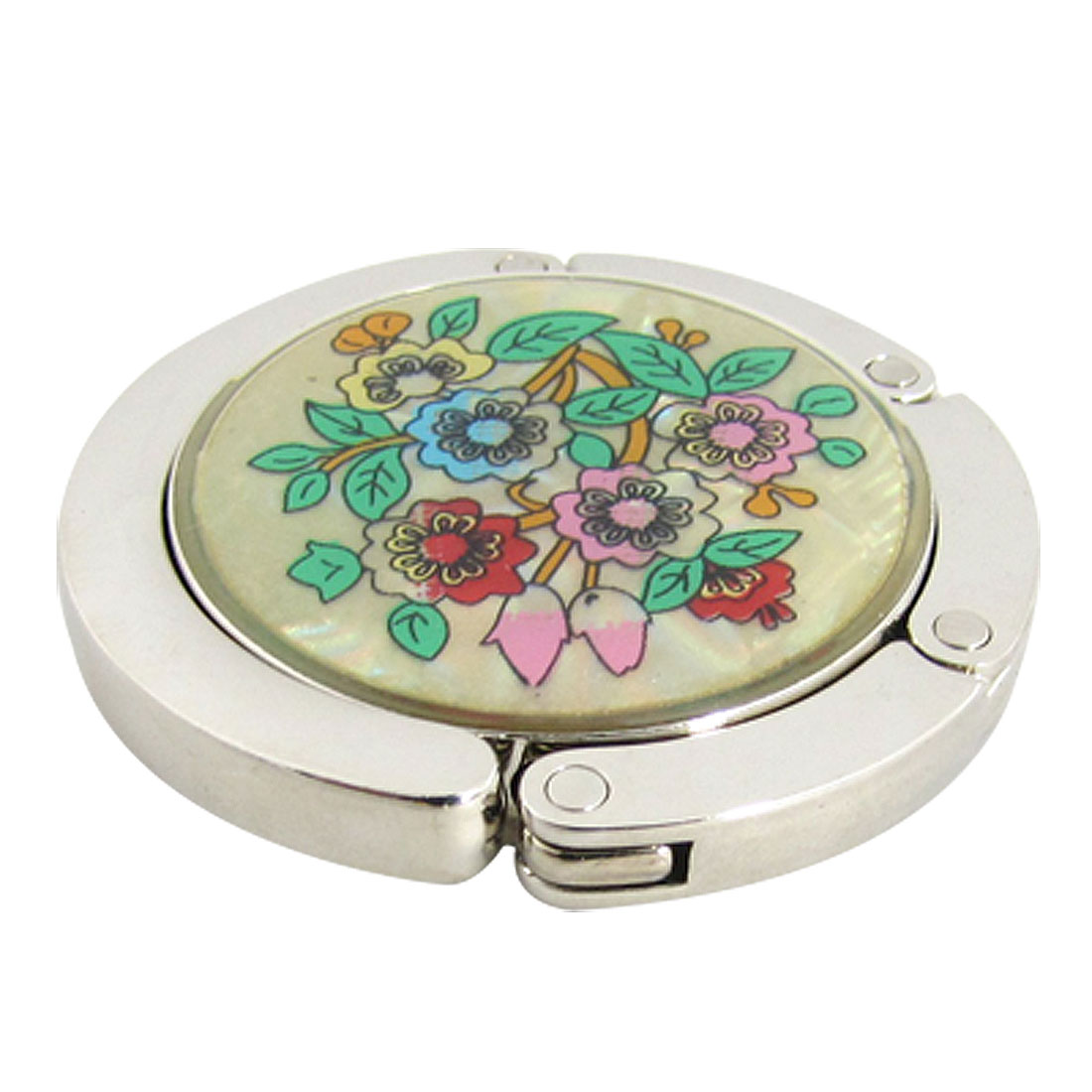 Flowers Leaves Foldable Magnetic Round Handbag Purse Hook