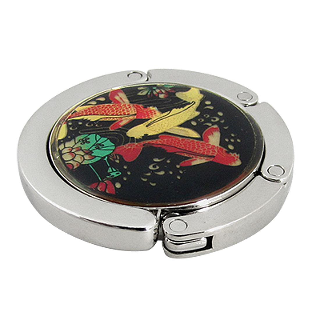 Fish Lotus Pattern Round Rubber Base Handbag Hook