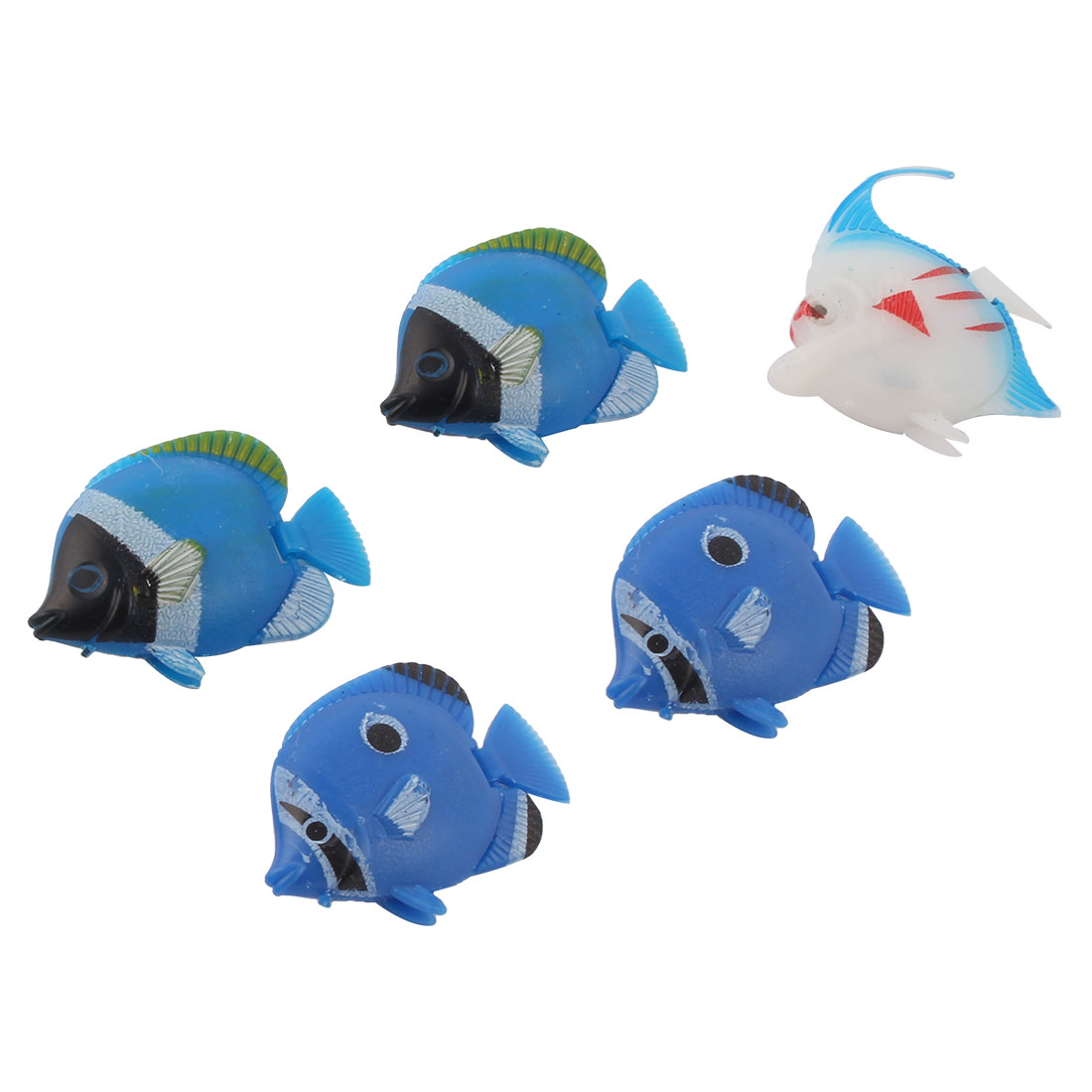 Plastic Artificial Fishes Ornament Multicolor 5 Pcs for Aquarium Fish Tank