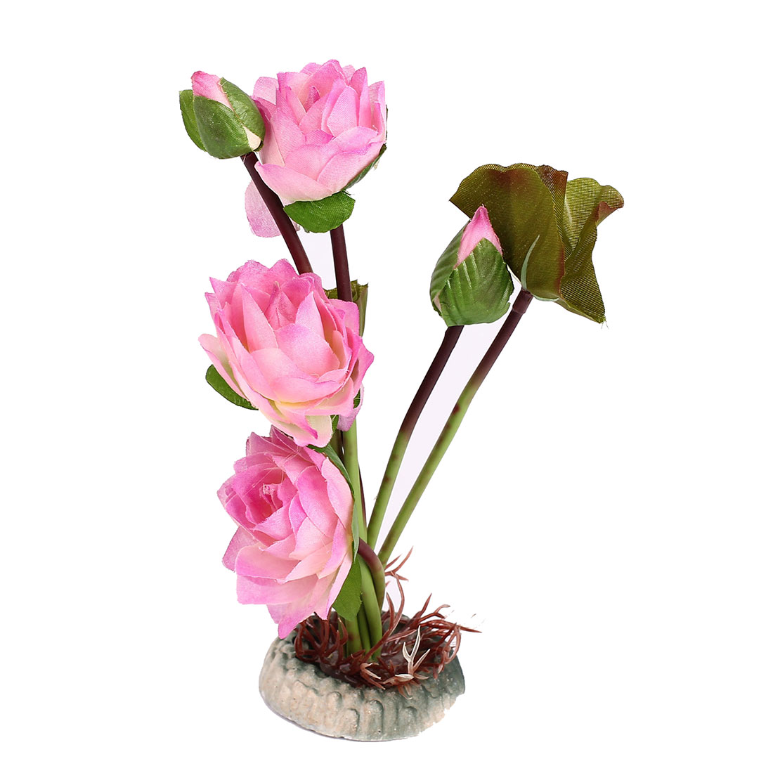 Green Pink Lotus Flower Plastic Water Plant for Aquarium