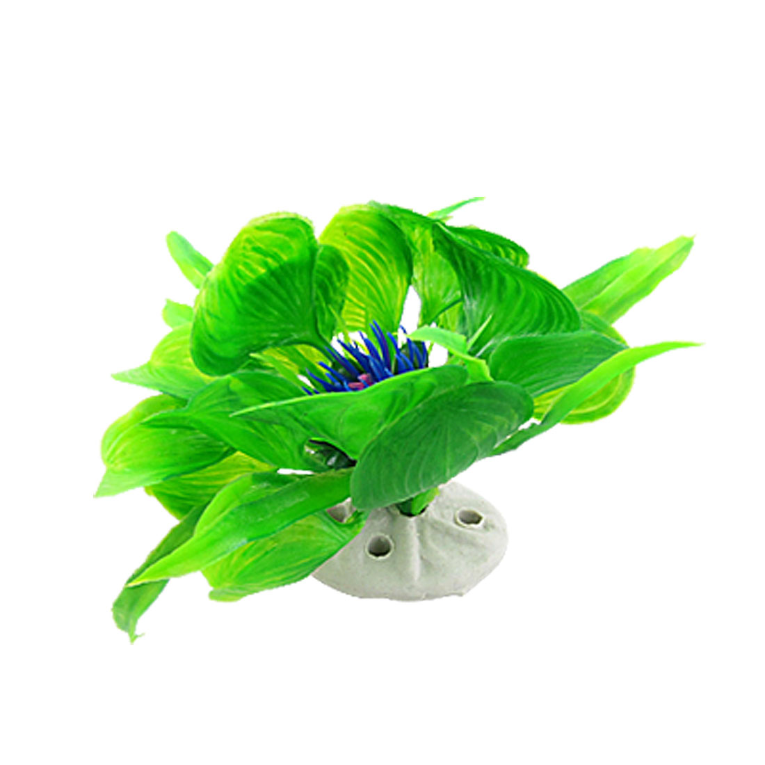Blue Floral Green Leaves Plastic Grass for Fish Tank