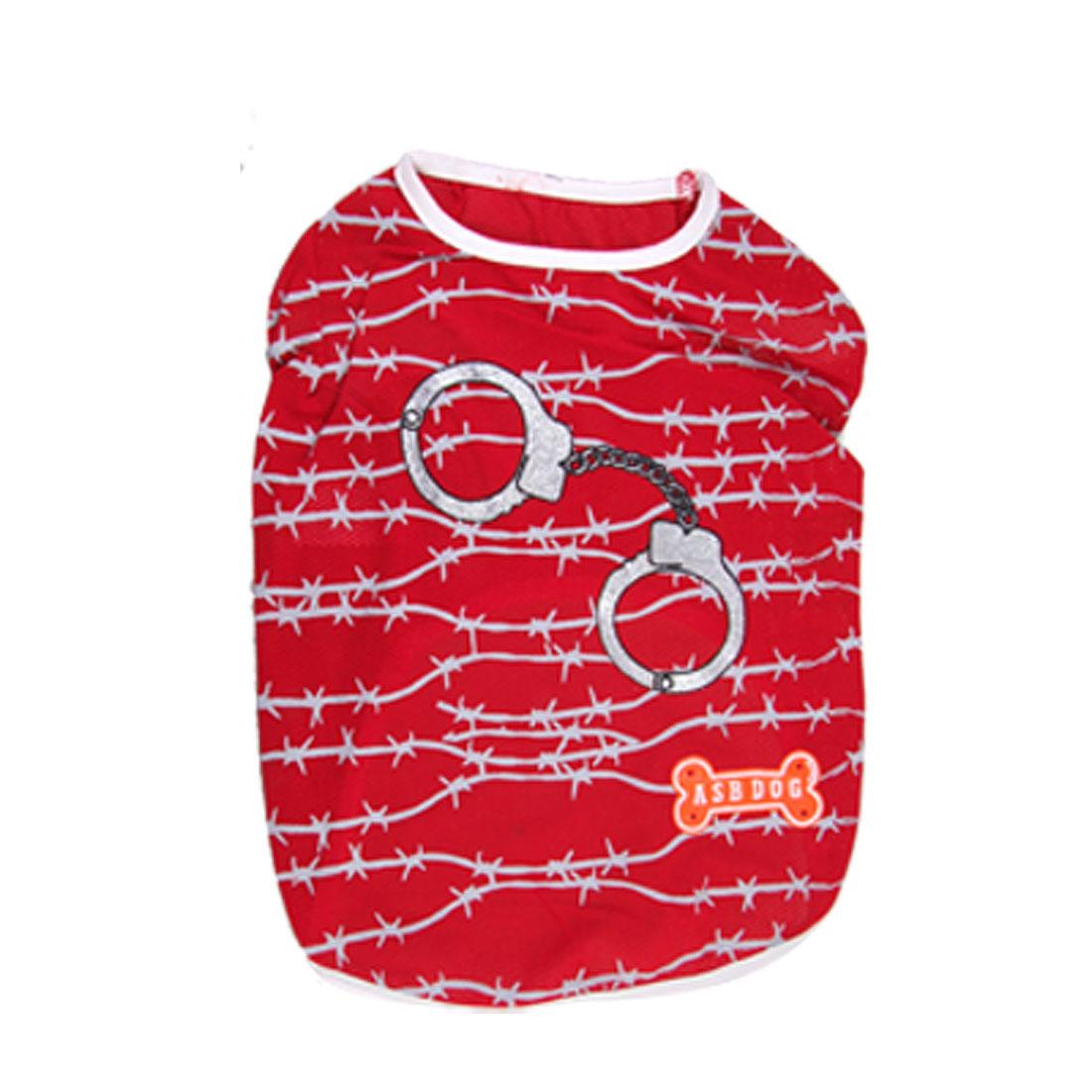 Size XXL Round Neck Striped Summer Pet Puppy Dog Apparel Shirt Vest Clothes Red