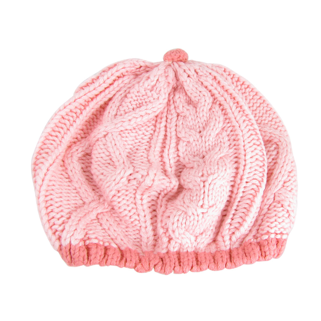 Pink Cabled Knitted Winter Beanie Cap Hat for Ladies