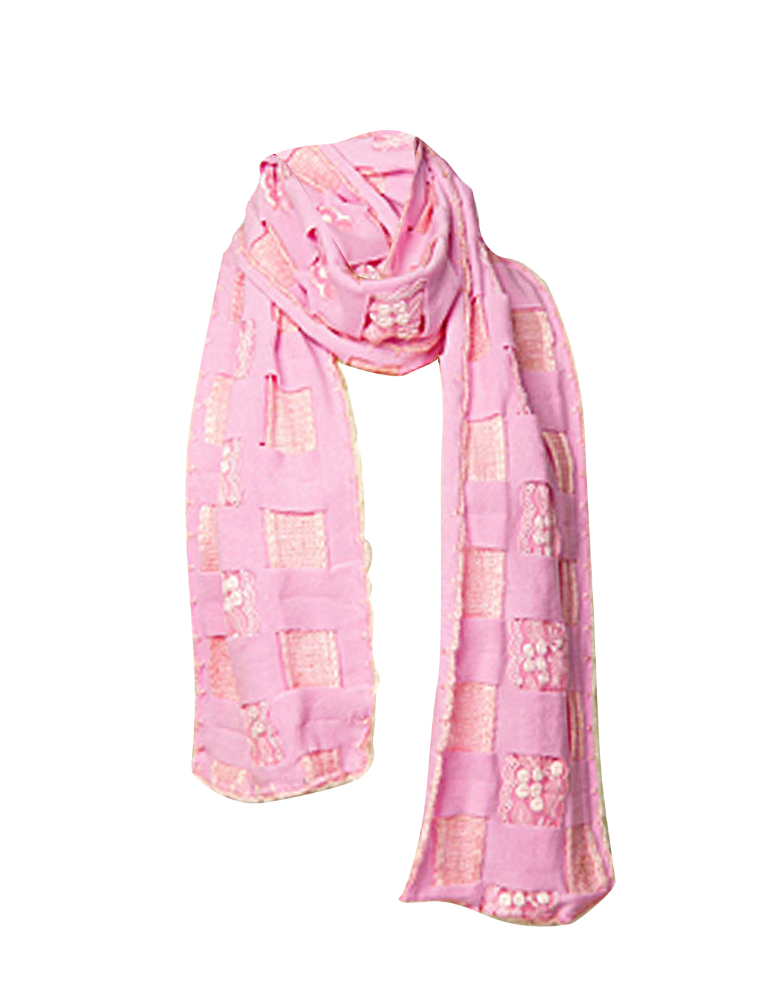 Ladies 174cm Long Light Pink Middle Embroidery Lace Scarf