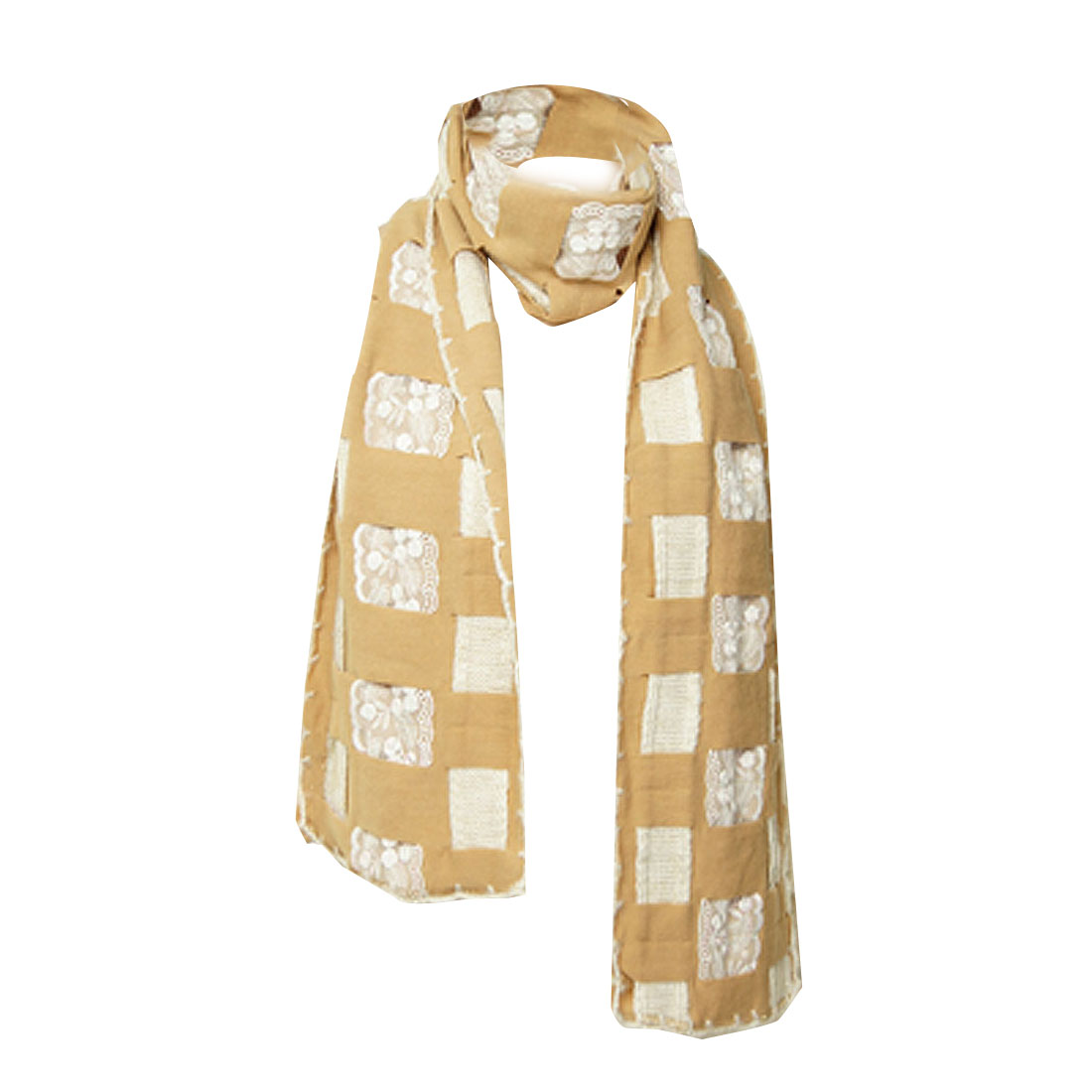 Ladies Winter Khaki White Cross Design Rectangle Shawl Scarf