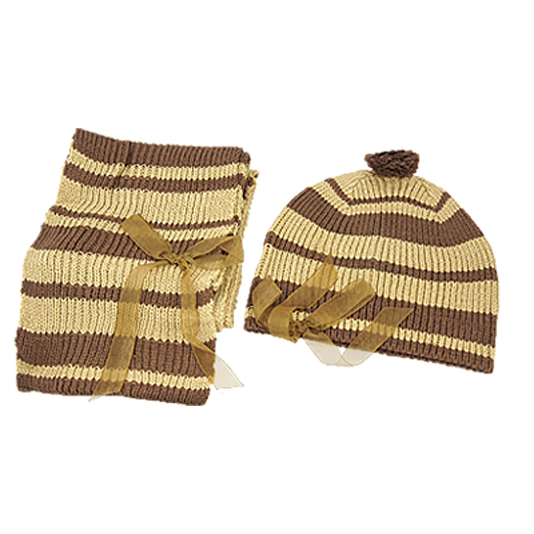 Ladies Bow Accent Knitted Beanie Hat + Striped Scarf
