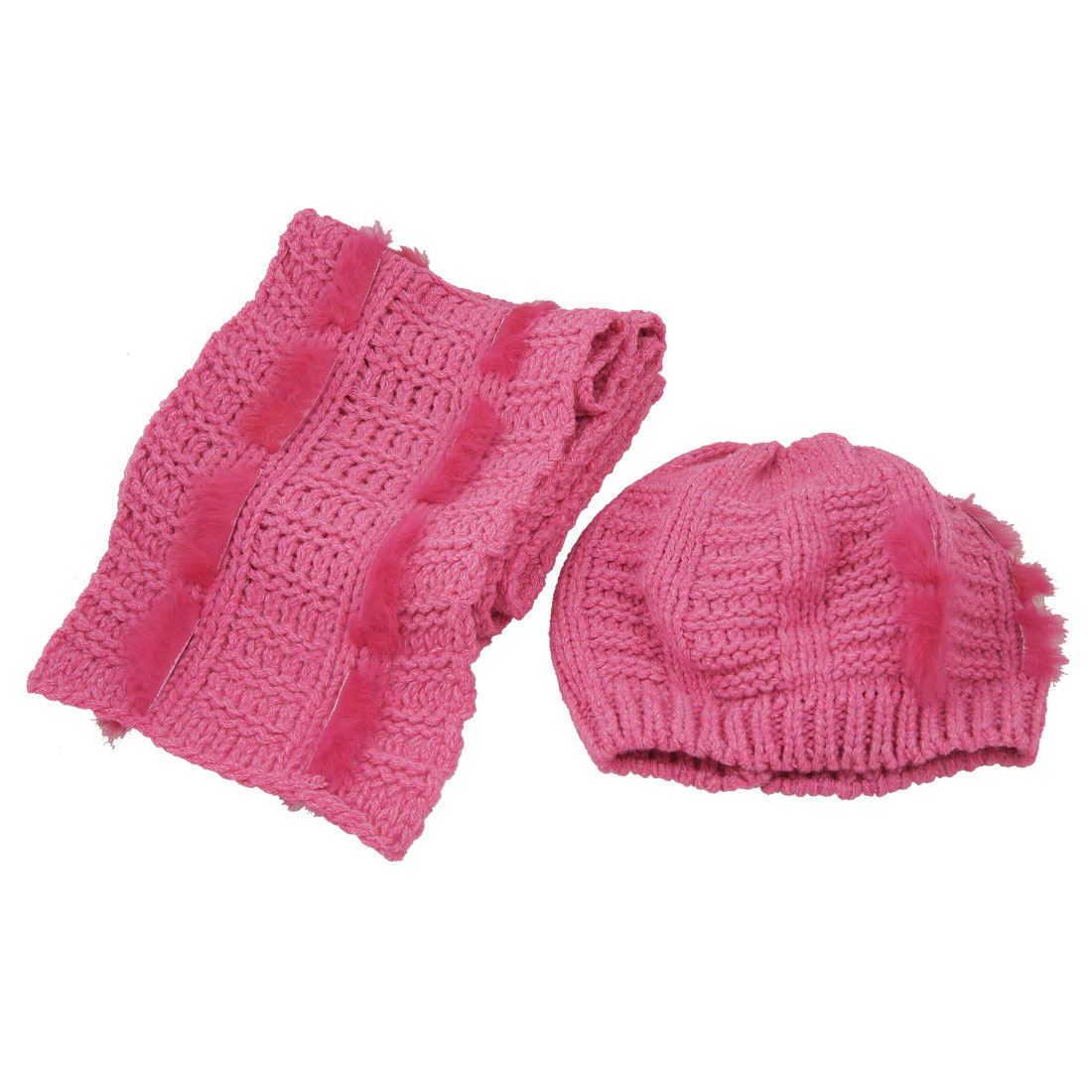 Ladies Ribbed Knitted Trim Beanie Hat Neck Scarf Fuchsia