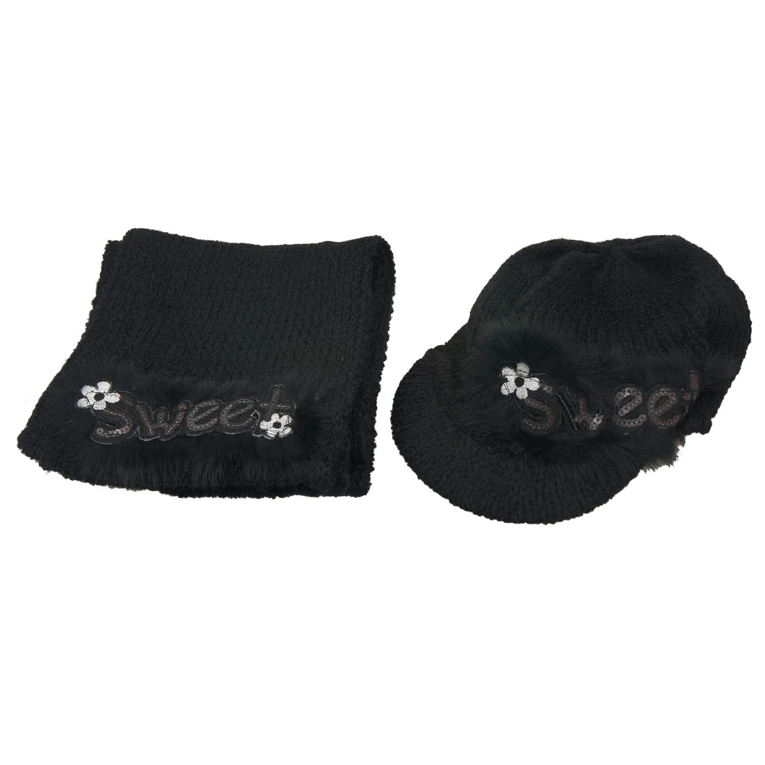 Sequin Letters Printed Brim Hat + Rectangle Scarf Black for Lady