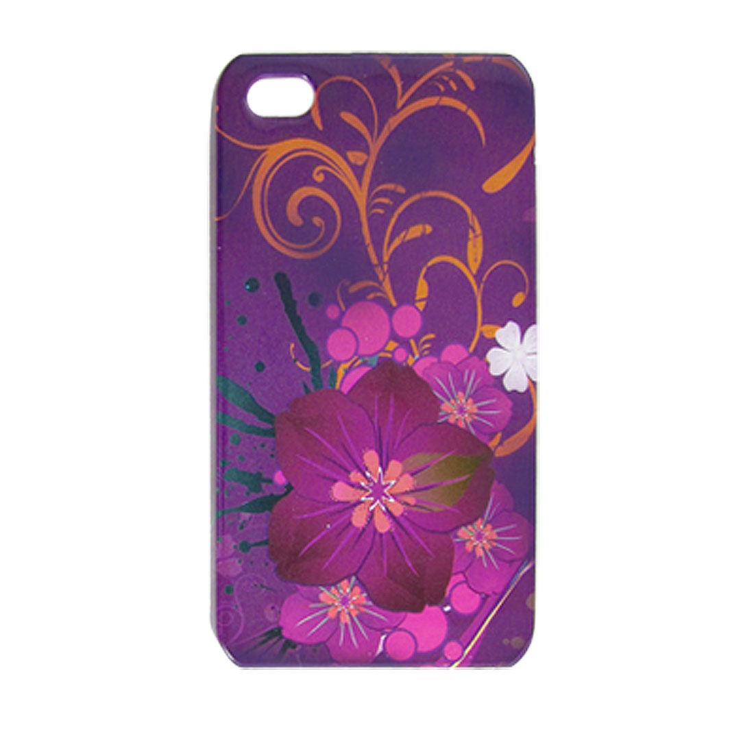 Lilac Hard Plastic Floral Print Back Case for iPhone 4 4G