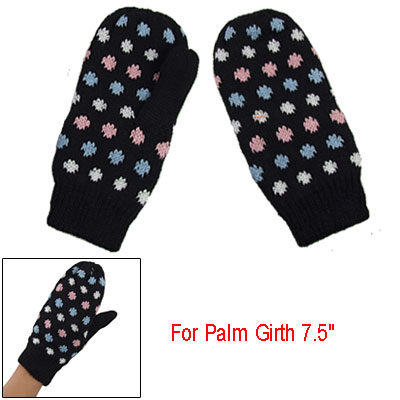 Ladies Knitted Dots Accent Lined Winter Mittens Black