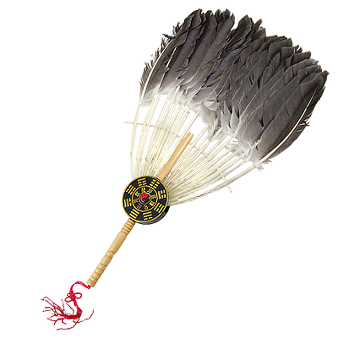 Zhuge Liang Imitated Fur Eight Diagrams Decor Wooden Handle Handy Fan