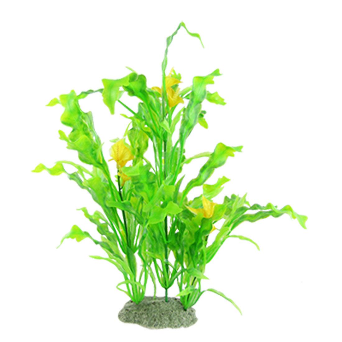 Yellow Flower Green Leaf Plastic Plant Aquarium Ornament