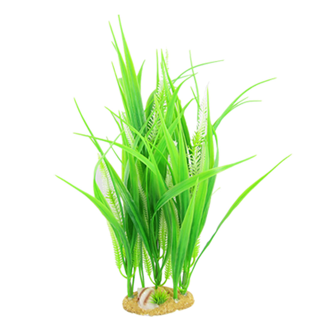 Green Plastic Plant Grass Ornament w Base for Aquarium