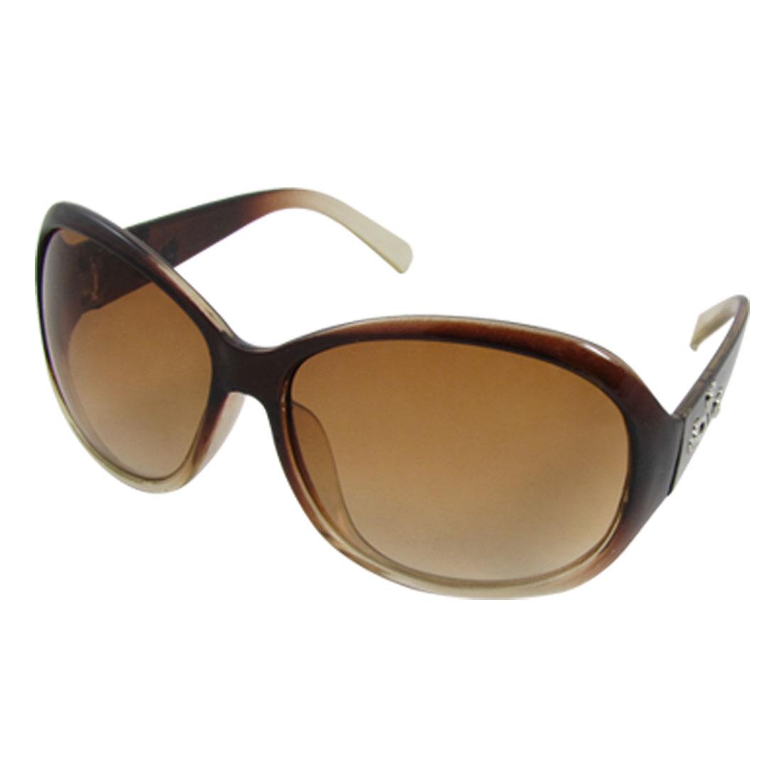 Women Flower Detail Plastic Arms Full Rim Leisure Sunglasses