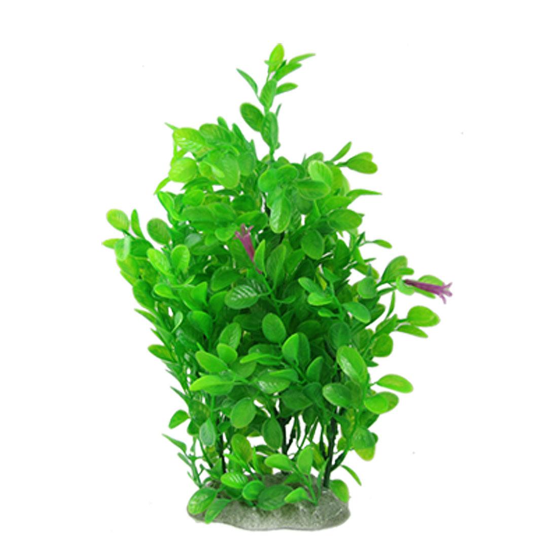 Purple Floral Green Grass Ornament Decor for Fish Tank