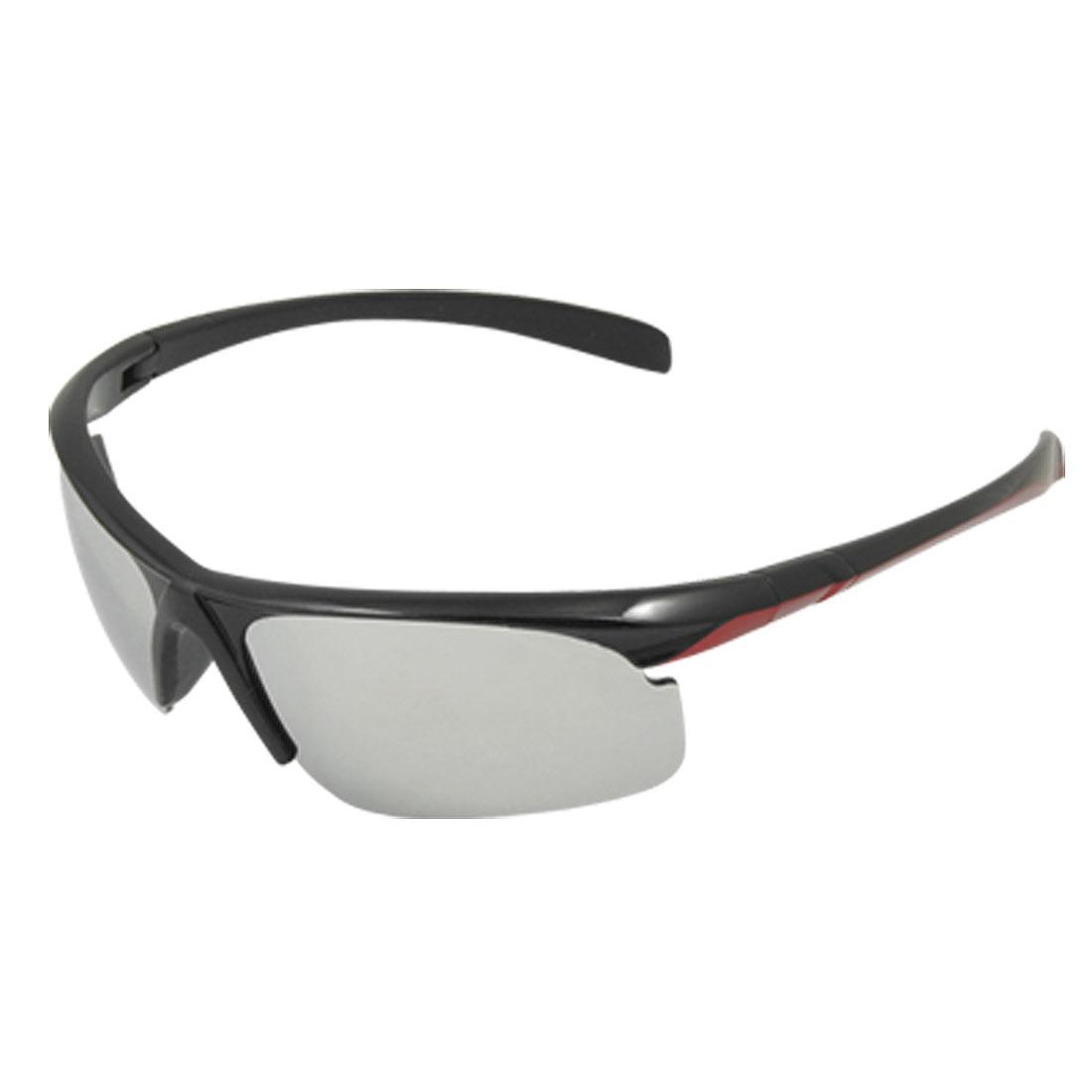 Plastic Semi Rim Sunglasses Black Red for Skiing Beach