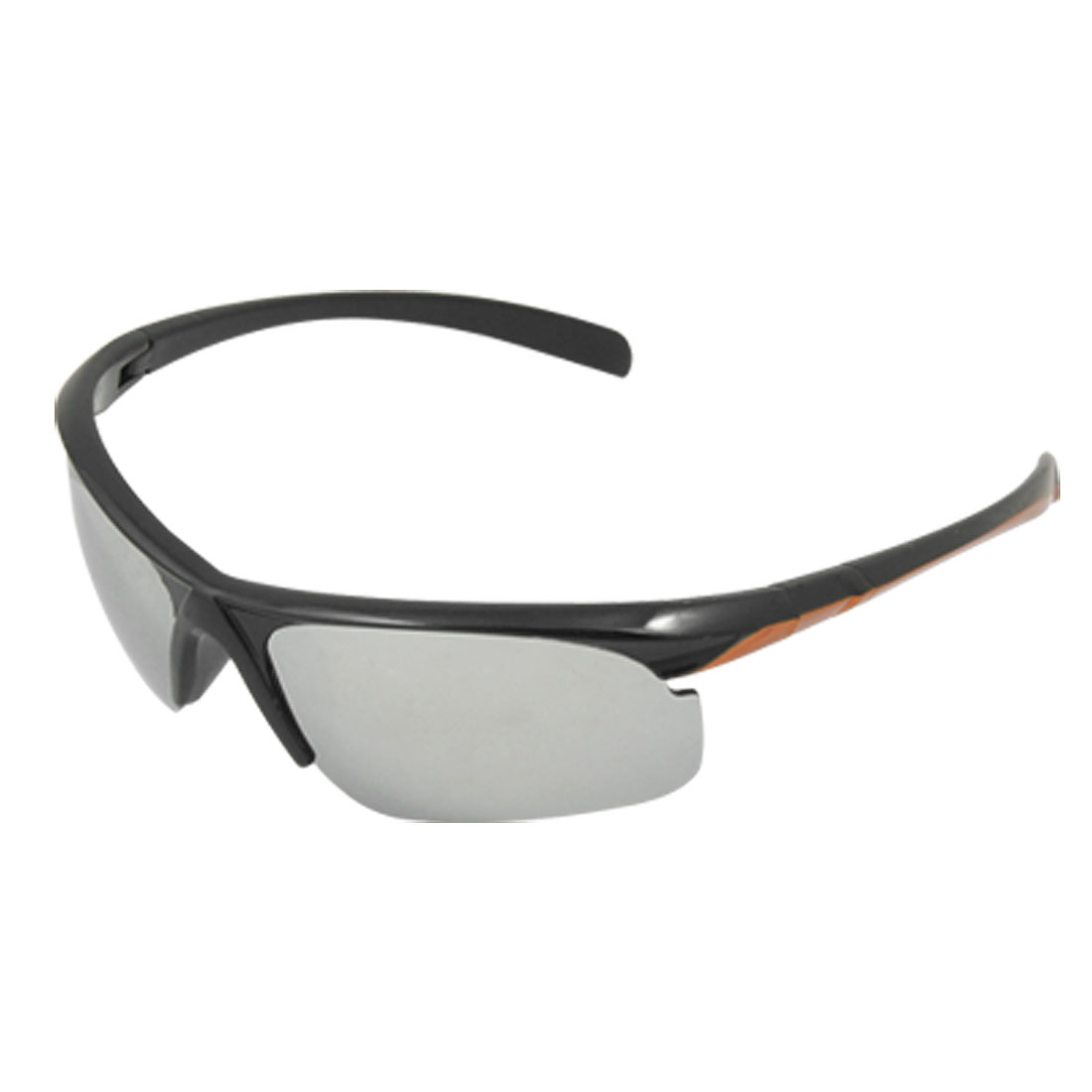 Mirror Lens Orange Detailing Arm Semi Rim Sports Sunglasses