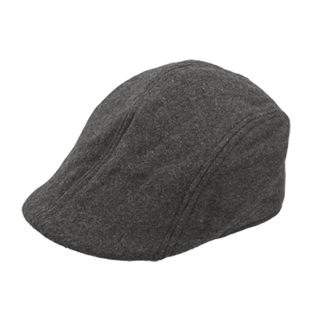 Ladies Dark Gray Worsted Solid Visor Ascot Cap Spring Hat