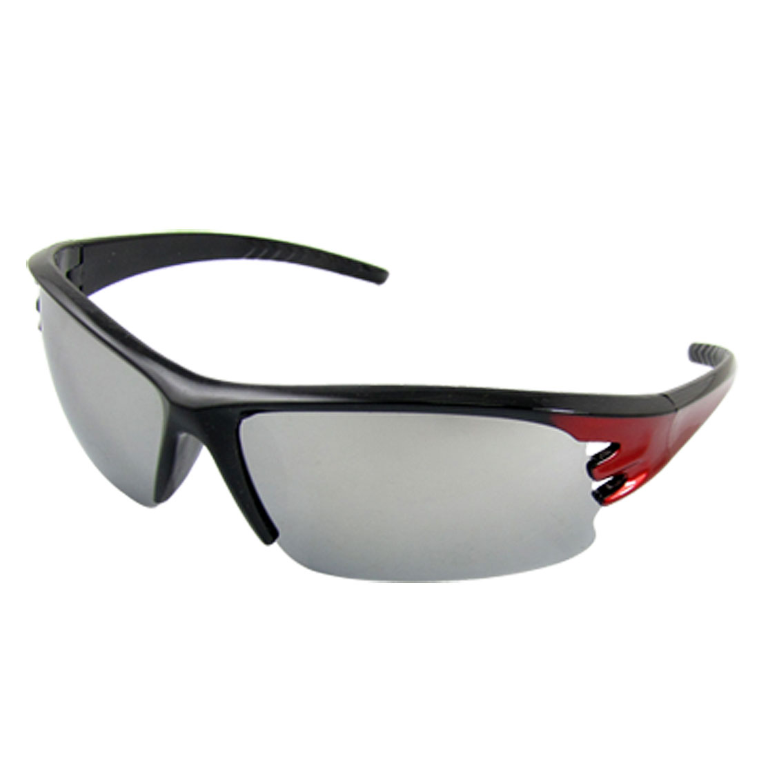 Mirror Lens Red Black Plastic Arms Sunglasses for Women