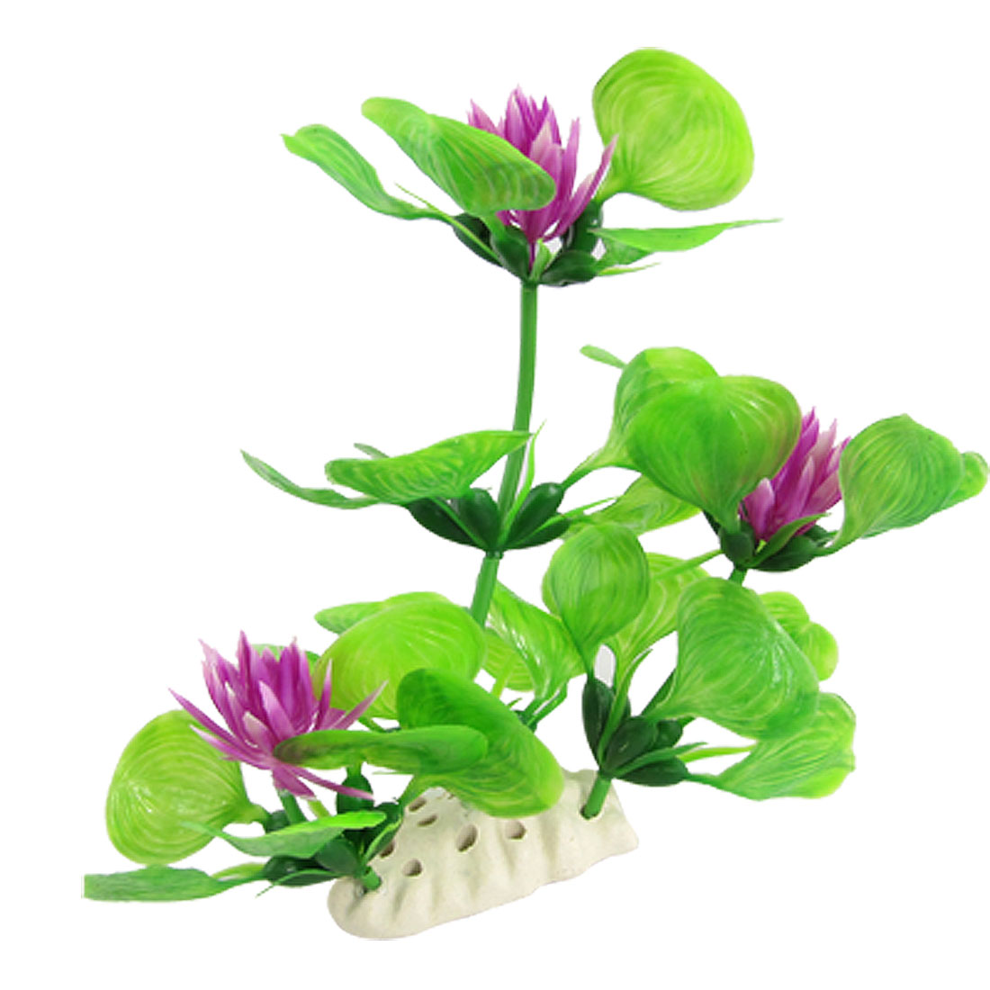 Purple Flower Plastic Plant Oranment Green for Aquarium
