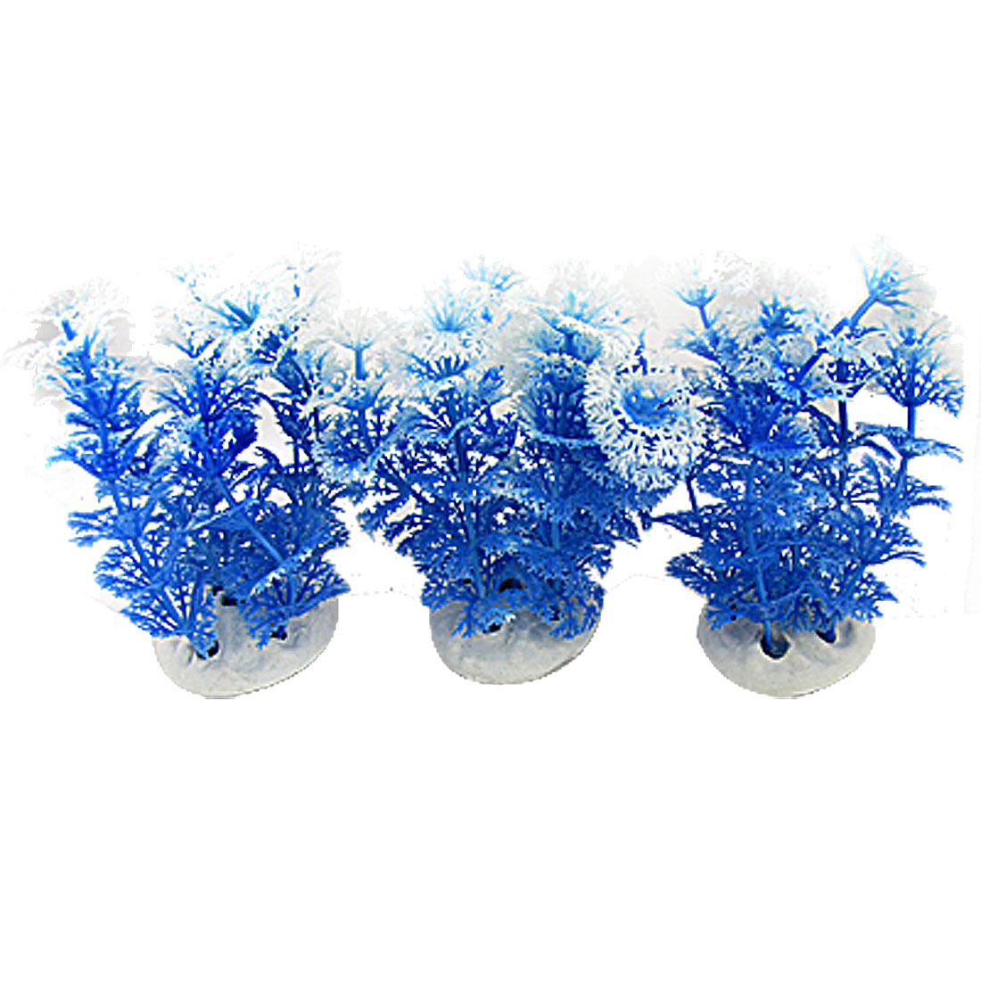 Aquarium 10.5CM Height Blue White Plastic Grass Ornament 3PCS