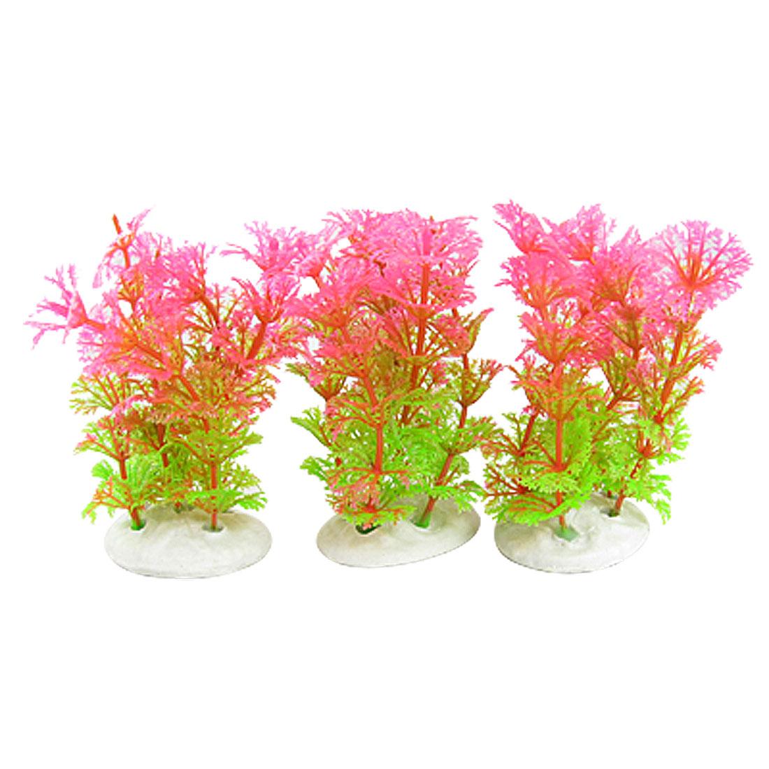 3 x Pink Plastic Grass Underwater Decoration for Aquarium
