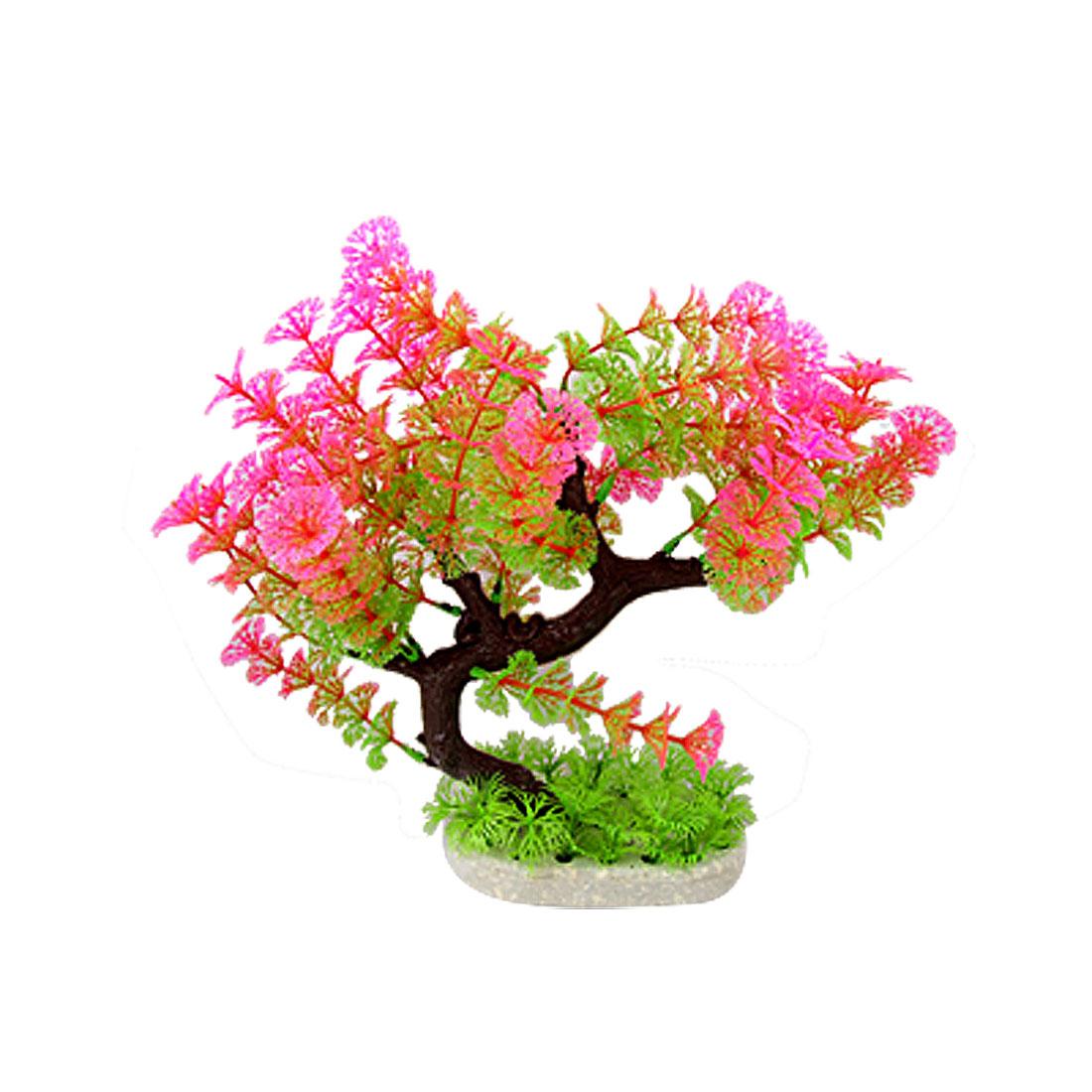 """Plastic Water Tree Plants Aquarium Ornament Hot Magenta Green 11"""""""