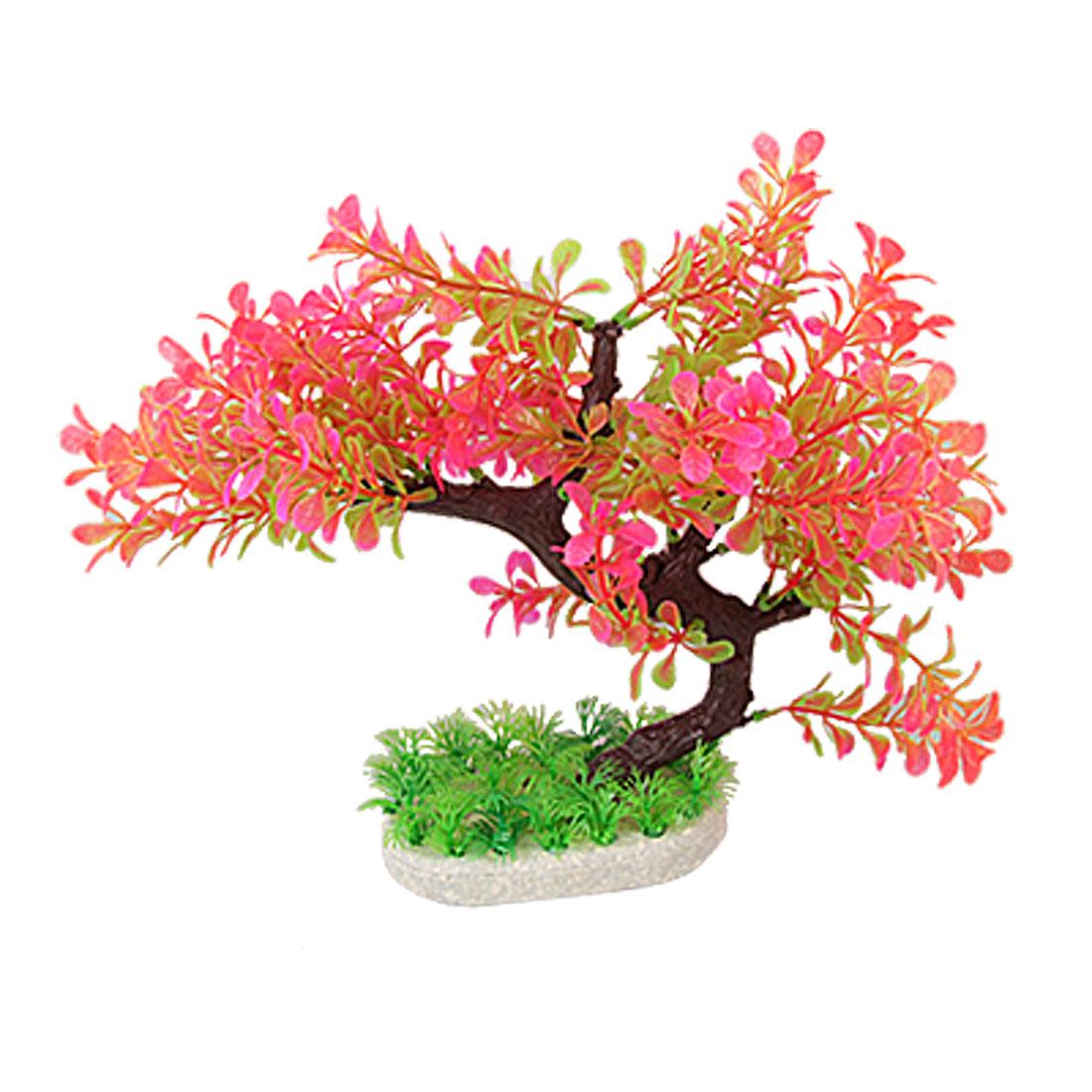 "10.2"" Height Hot Magenta Green Fish Tank Plastic Tree Plants Ornament"