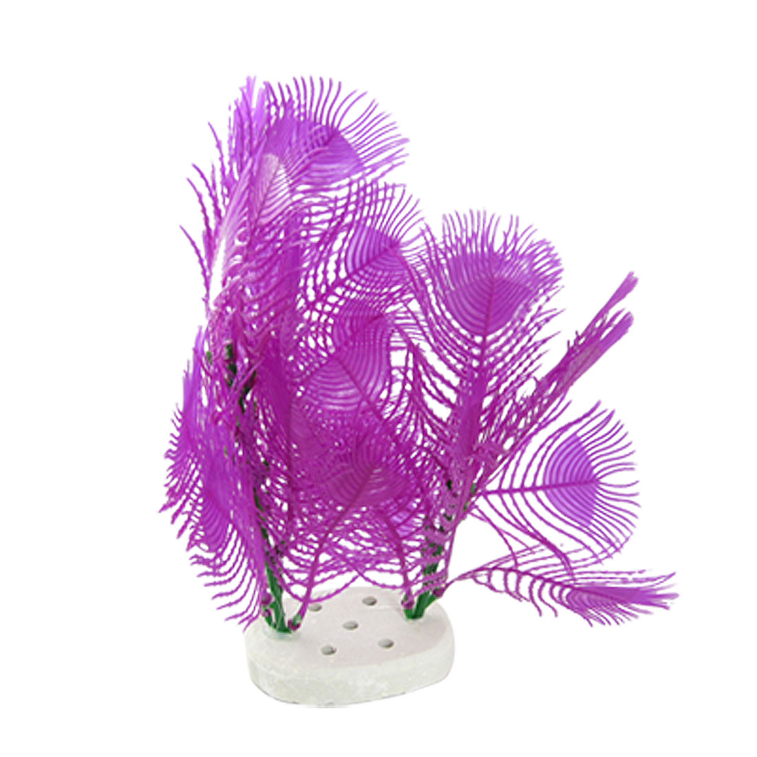 Purple Plastic Parrot Feather Plants w Ceramic Base Aquarium Decoration