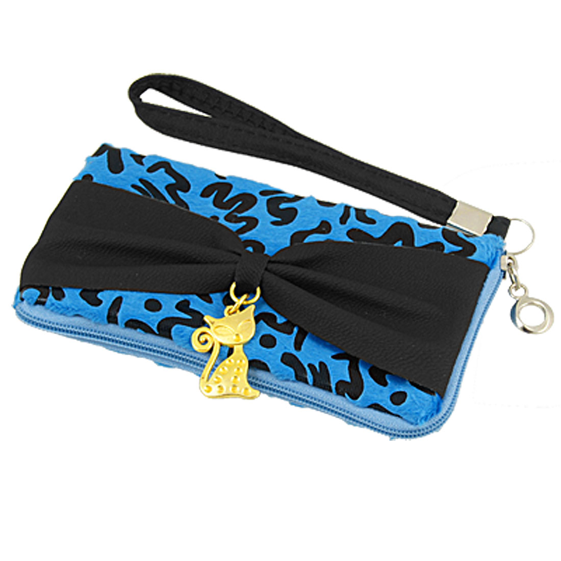 Bowknot Decor Black Blue Leopard Prints L-shape Zipper Cell Phone Pouch Bag