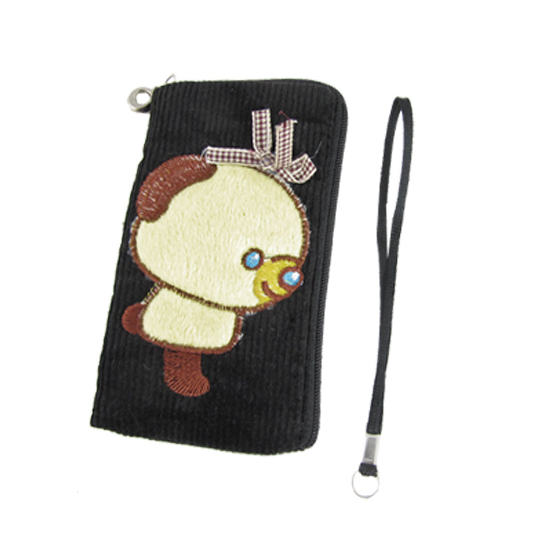 Black Corduroy Bear Pattern Phone Bag With Strap