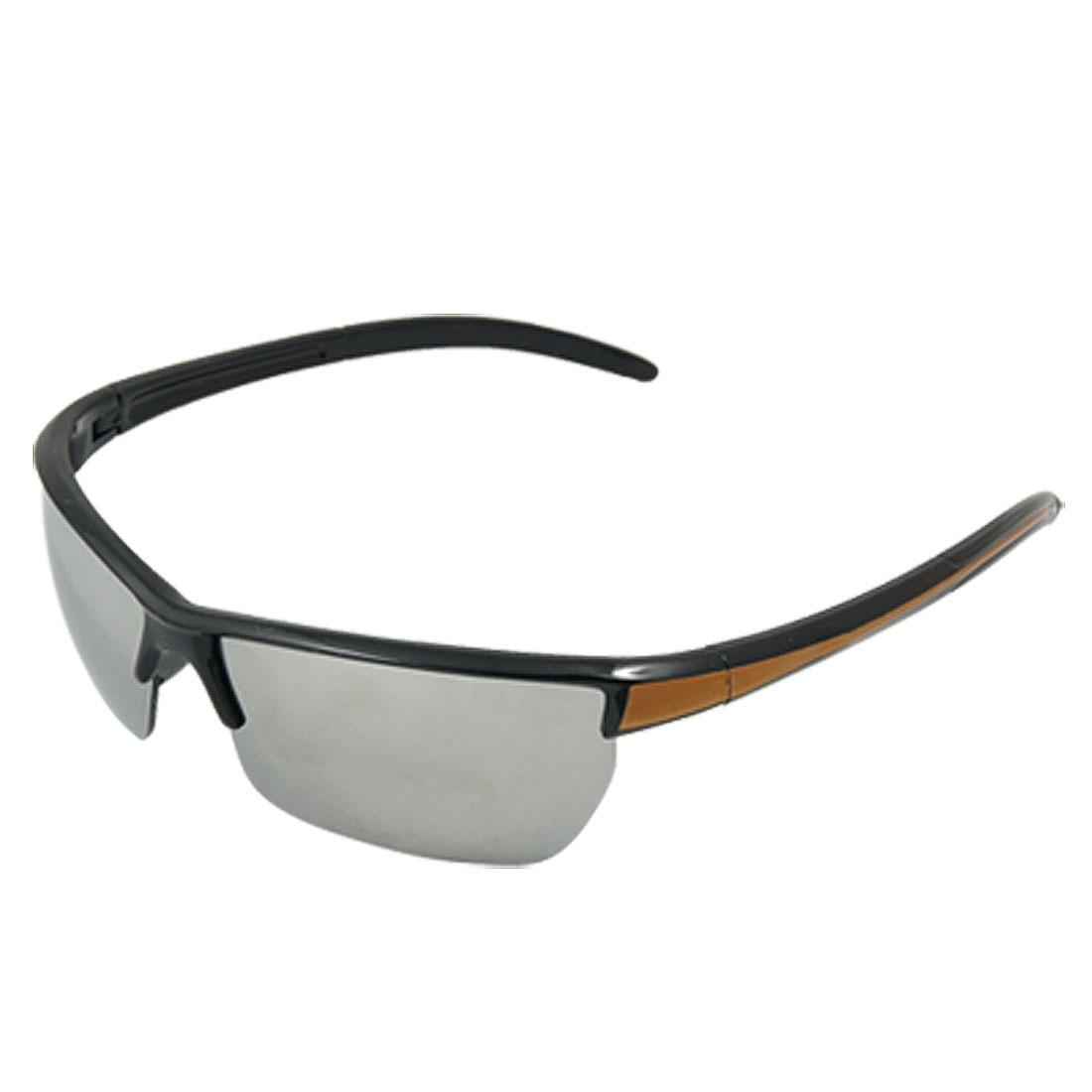Orange Black Plastic Slim Arms Mirror Lens Sports Sunglasses Unisex
