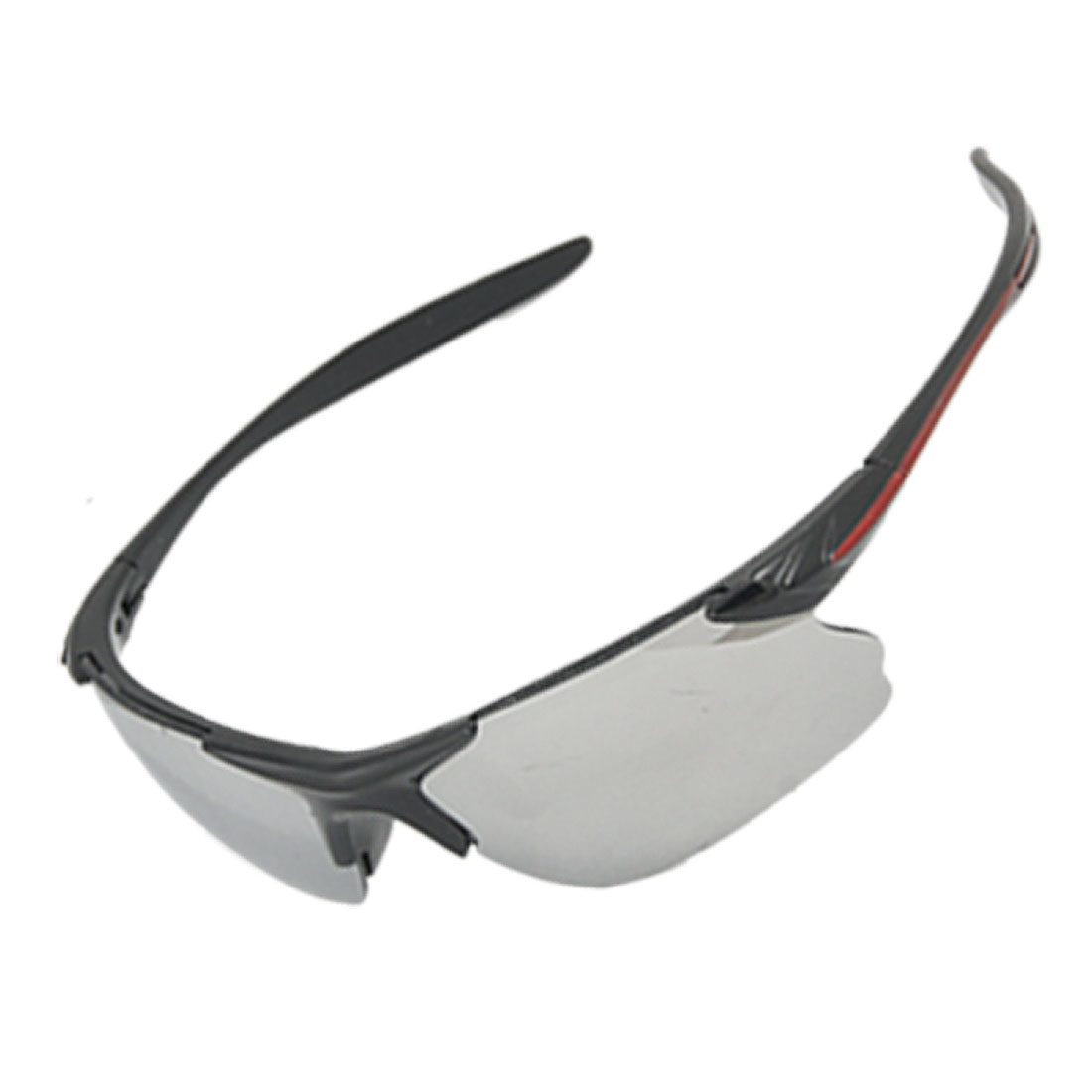 Crimson Line Black Slim Arms Curved Mirror Lens Sports Sunglasses Unisex