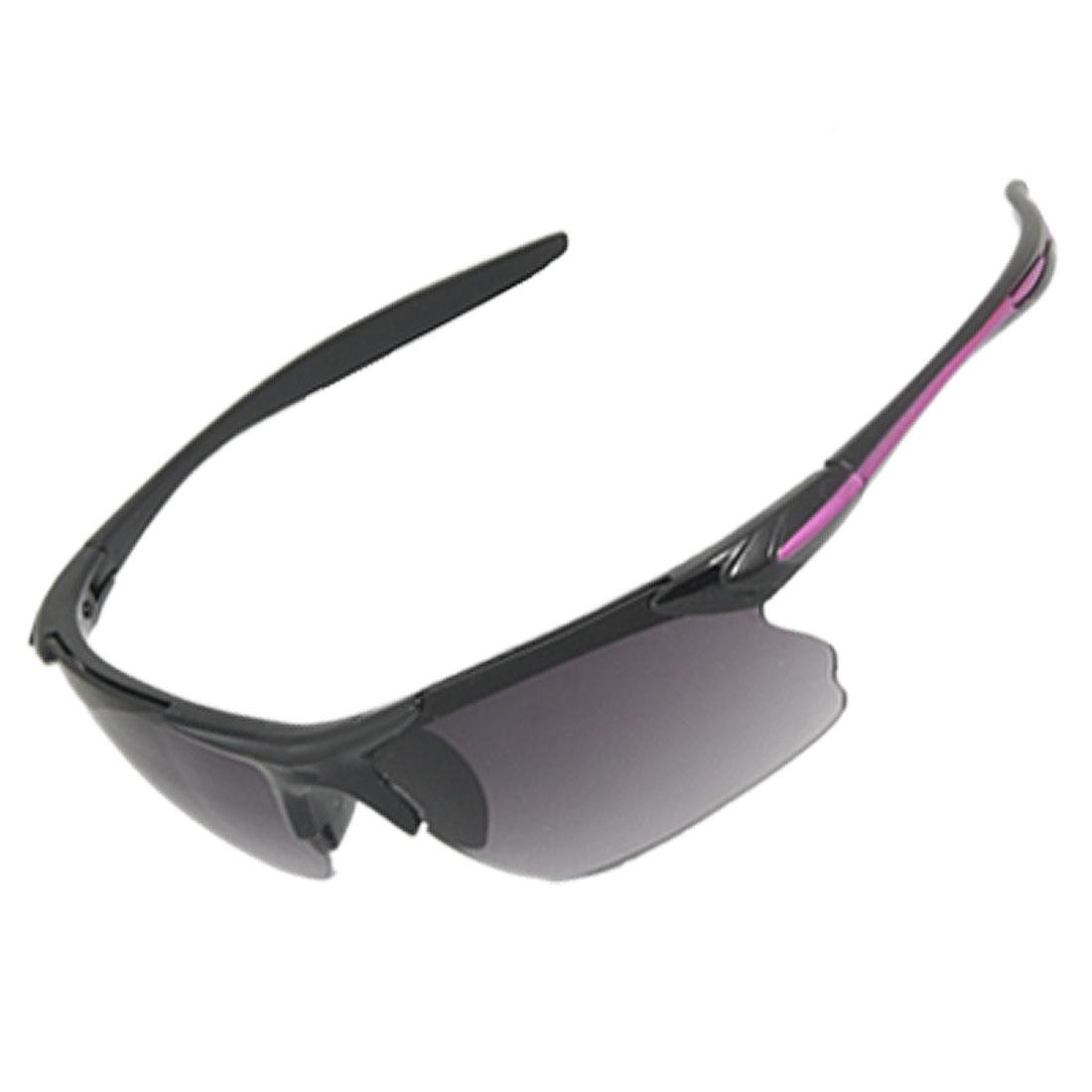 UV Protection Smoke Lens Purple Line Black Plastic Arm Sunglasses Unisex