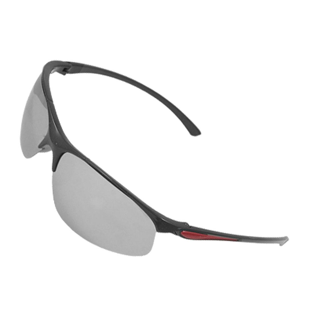 Men Women Crimson Accent Black Plastic Arms Mirror Lens UV Sunglasses