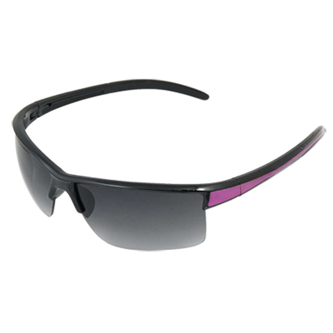 Purple Black Contrast Slim Arms Plastic Frame Smoke Lens Sunglasses Unisex