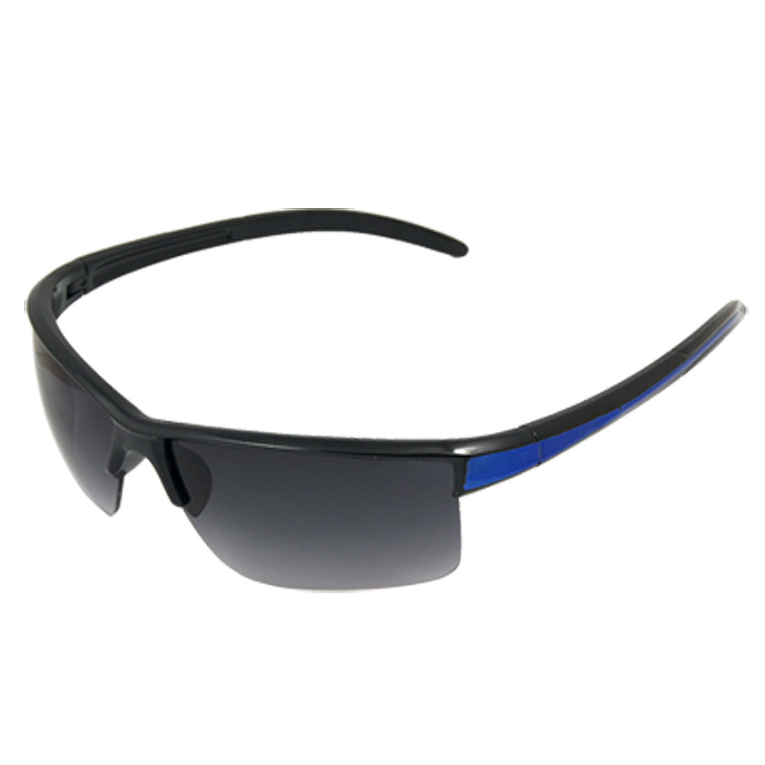 Rectangle Smoke Lens Half Rim Blue Black Arms Sports Sunglasses Unisex