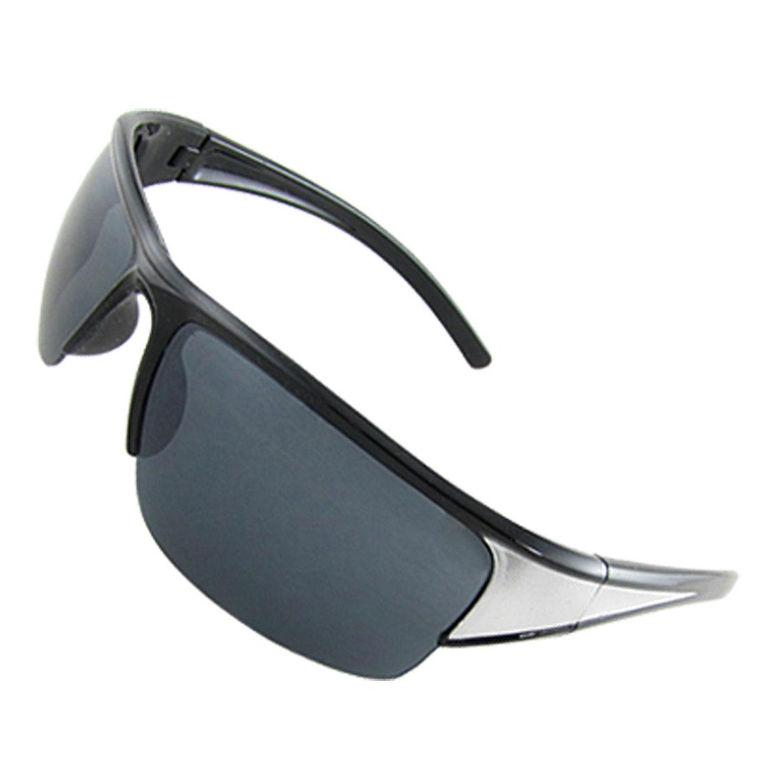 Unisex Dark Blue Rectangle Lens Black Gray Plastic Arms Sports Sunglasses