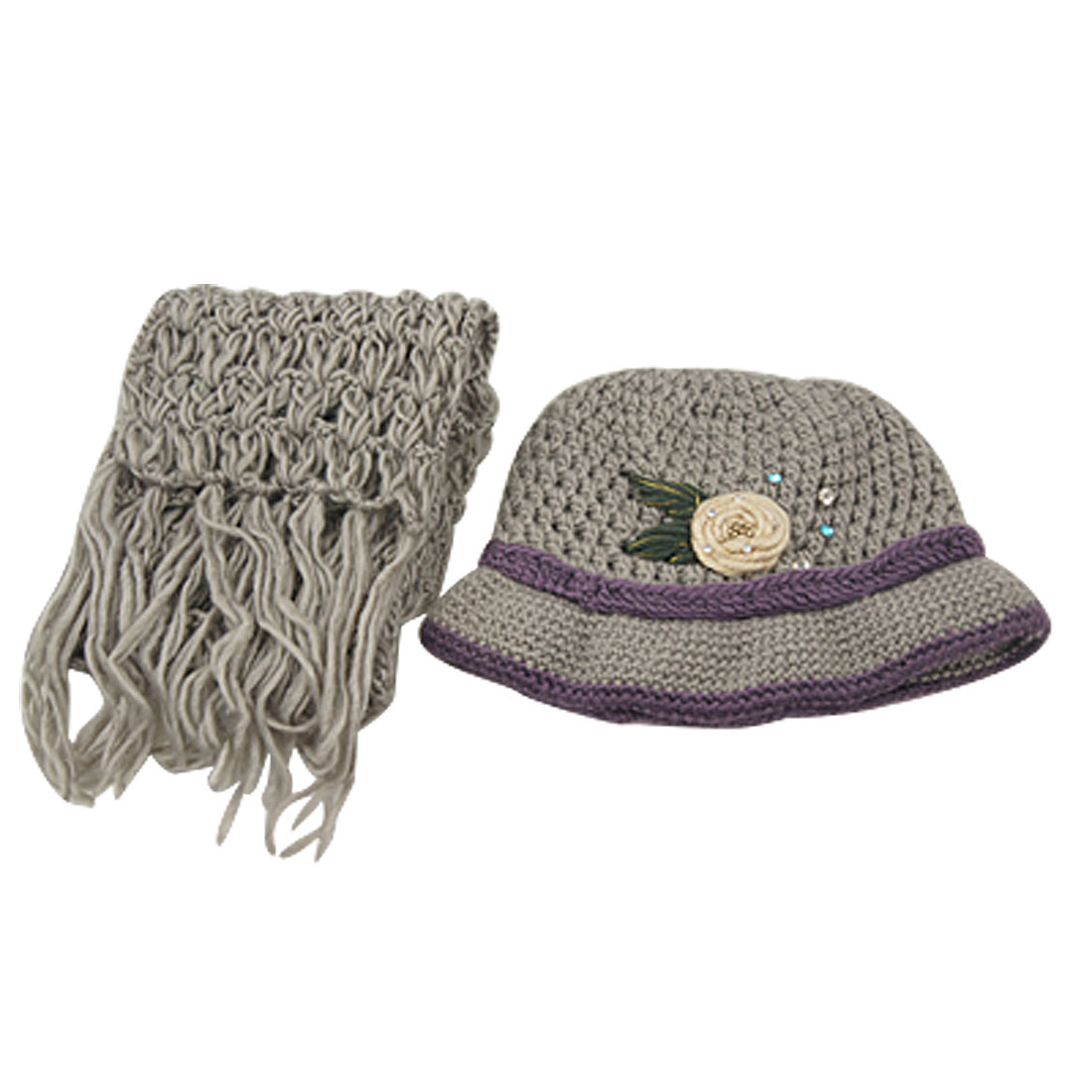 Lady Purple Braided Hem Gray Beanie Cap + Knitted Fringed Scarf
