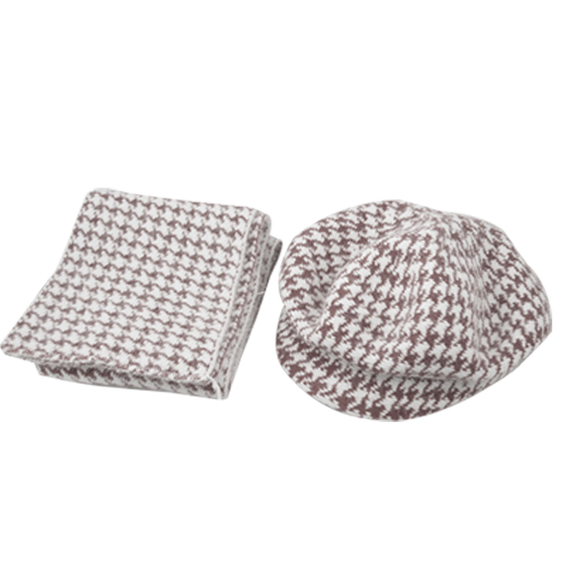Rectangle Scarf + White Burgundy Knitting Beanie Visor Cap for Lady
